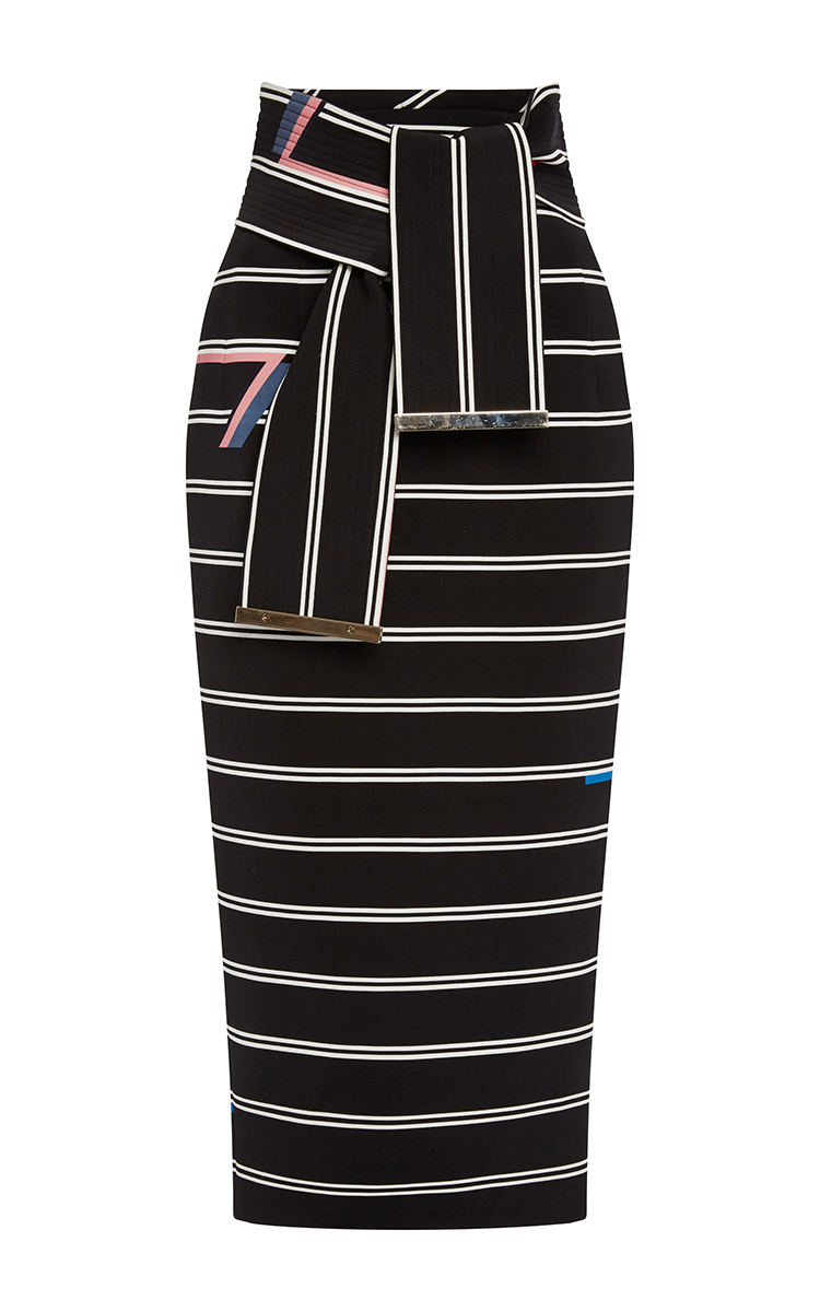 Eunice Striped Pencil Skirt With Tie Belt by Preen by