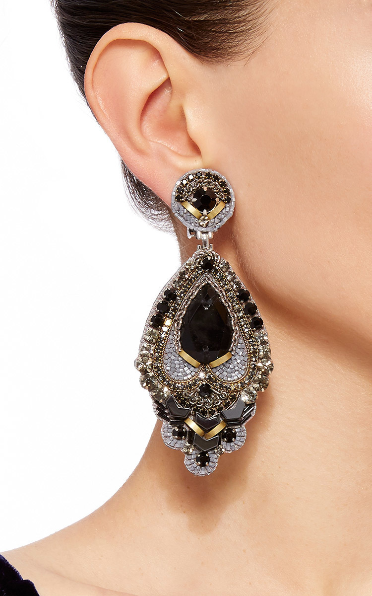 Black Beaded Drop Earrings By Ranjana Khan Moda Operandi