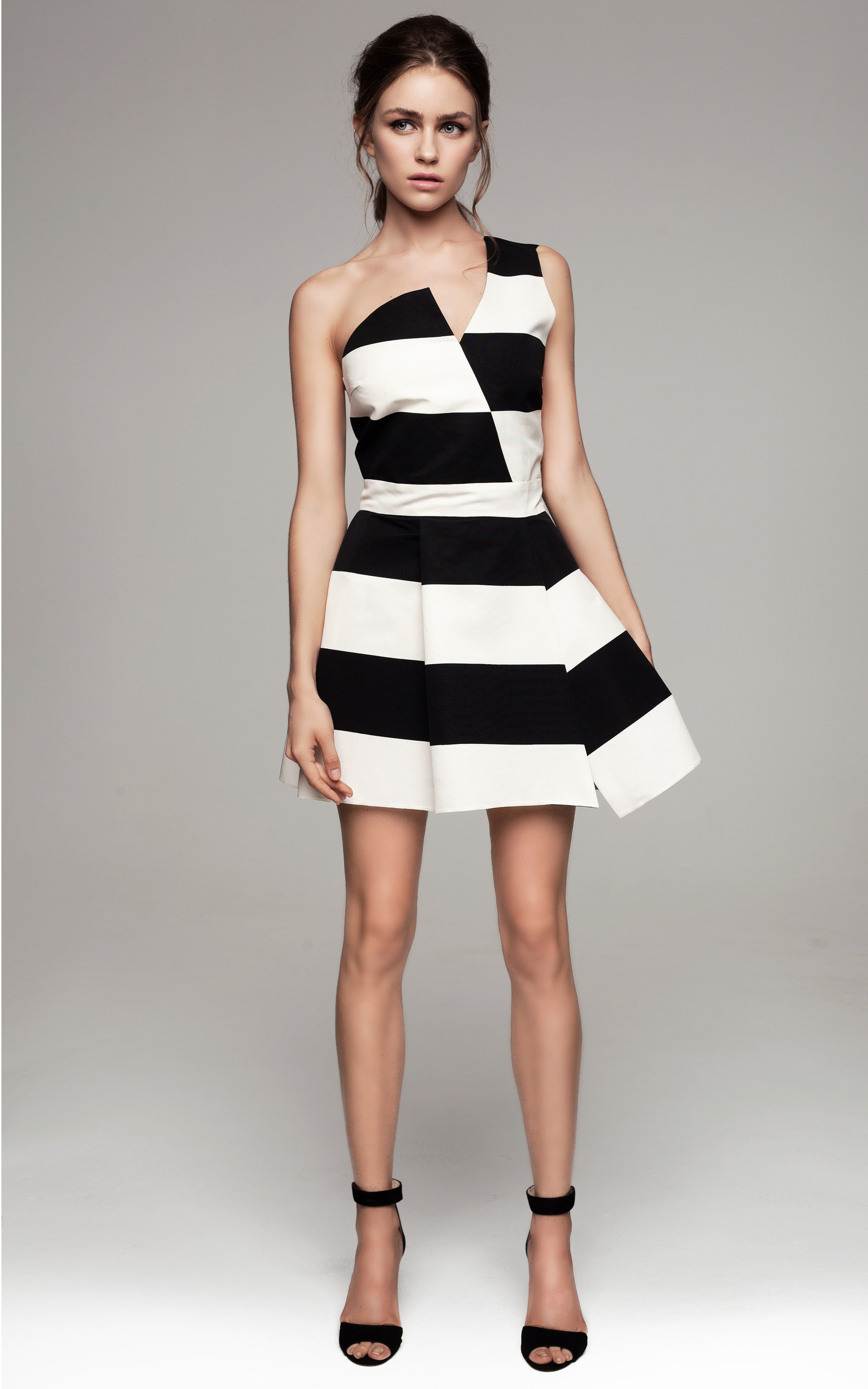Asymmetric Black And White Striped Dress Moda Operandi