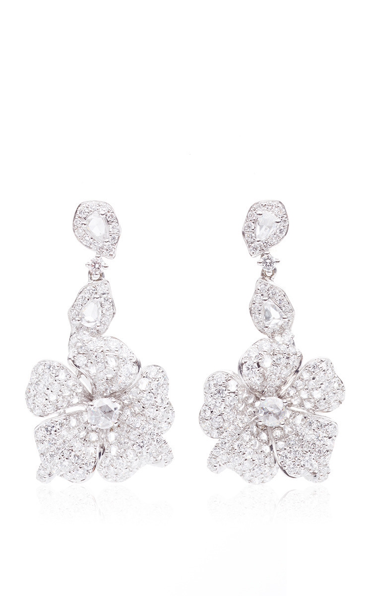 Duchess Hibiscus Rose Cut Diamond Earrings by Anna Hu