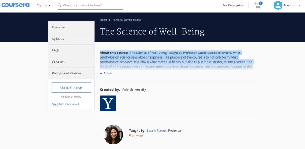 "Intro screenshot from Coursera, ""Psychology and the Good Life"""