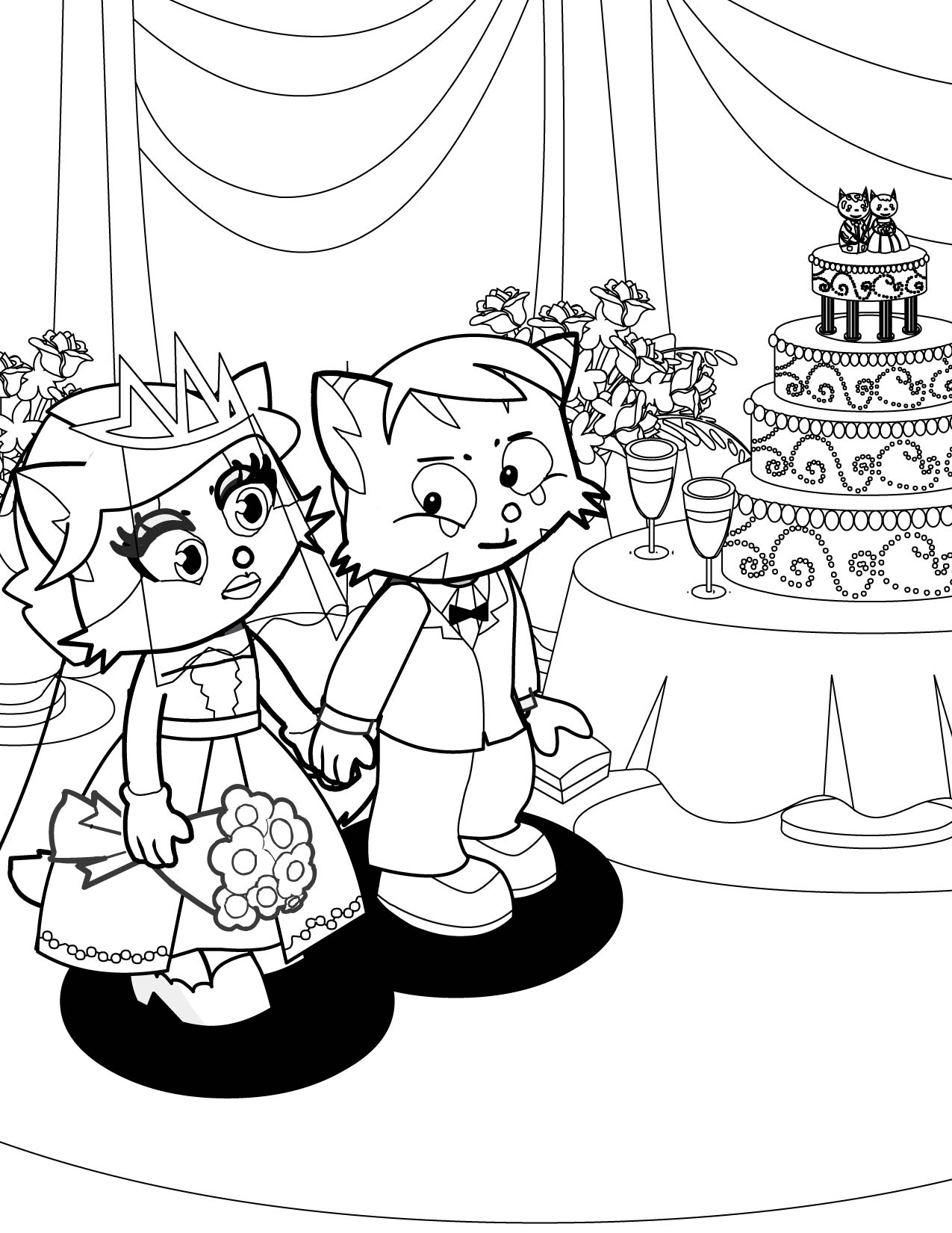 Bride And Groom Coloring Pictures Bltidm