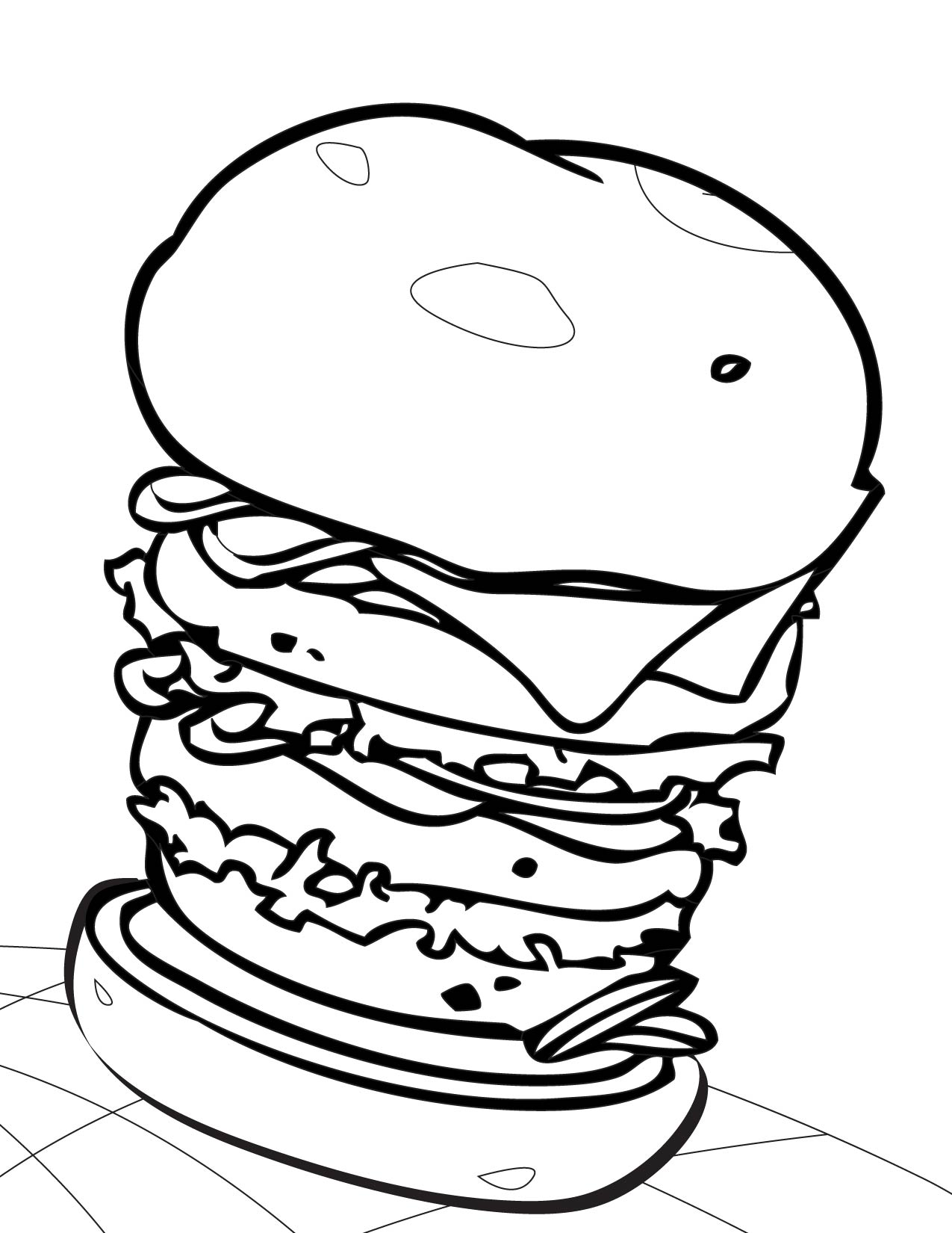 a burger Colouring Pages