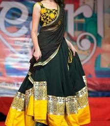 Buy Yellow & Black Designer Lehenga bollywood-lehenga online