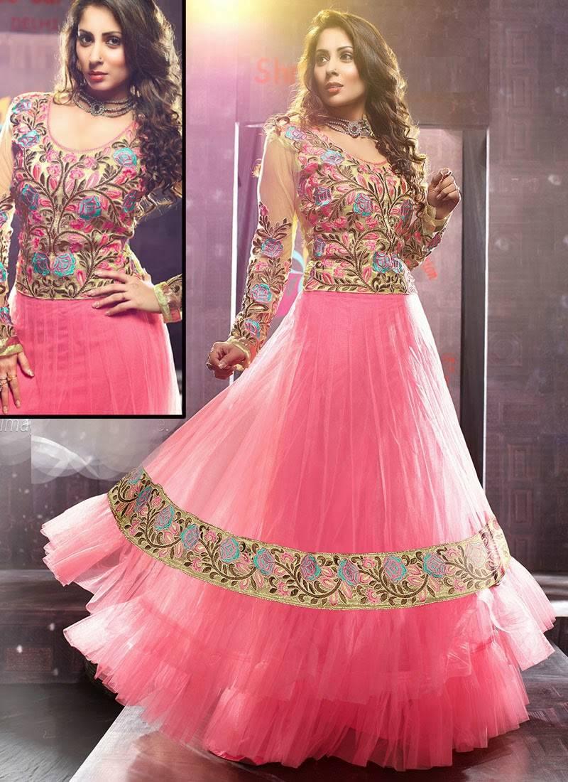 Buy Sangeeta Ghosh In Pink Net Anarkali Suit Online