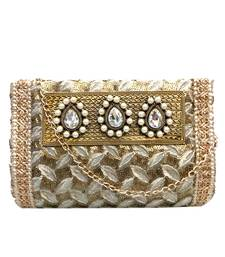 Buy Sequinned Work Clutch with 3 Pearl Regal Brooch (Gold 2) clutch online