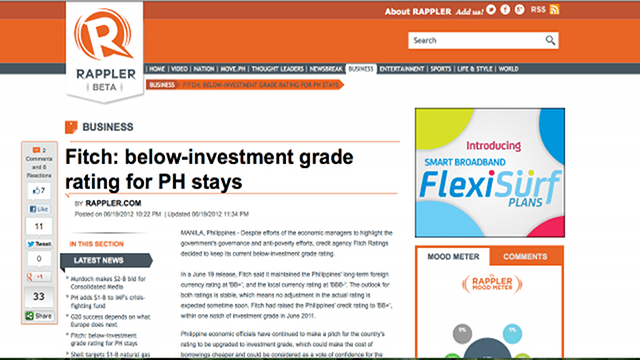 Philippine credit rating stays below investment grade