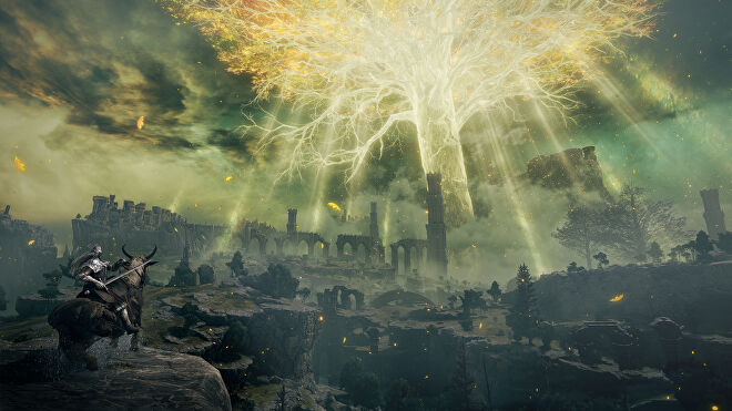 A glowing ethereal tree amidst ruins in an Elden Ring screenshot.