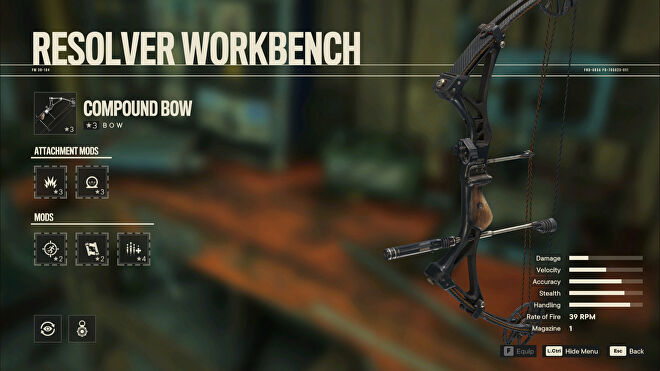 A screenshot of the Workbench screen in Far Cry 6 with the Compound Bow selected.
