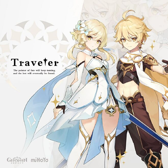The male and female variations of the Traveler from Genshin Impact. Intro text reads: