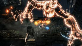 A screenshot of MMO action RPG Lost Ark, showing a glowing player on a stone bridge being attacked by an enormous, glowing demon.