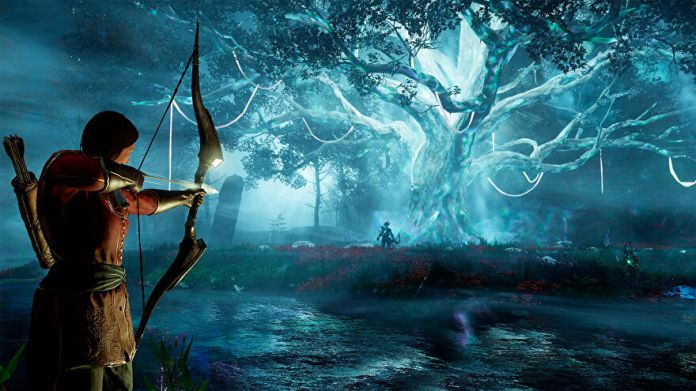 New World: A glowing blue Azoth Tree stands at the focal point of the screenshot, with a twisted creature standing near it. Close to the camera, a huntress aims an arrow at the creature.