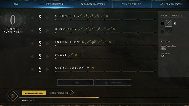 A new player's Attribute stats as shown in New World's Attributes screen.