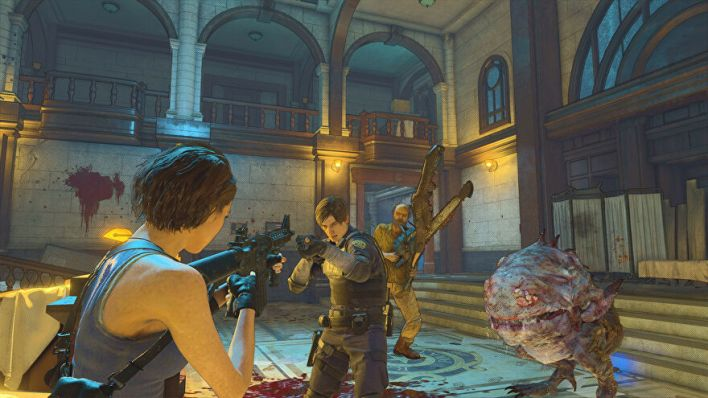Jill, Leon, Jack, and a horrible fleshlump in a Resident Evil Re:Verse screenshot.