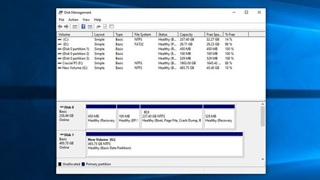 A screenshot of the Disk Management tool in Windows 10, showing the system's storage drives.