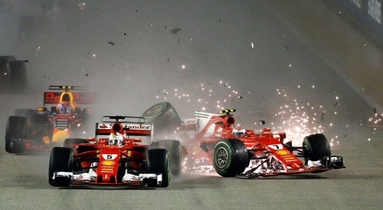 Hamilton wins Singapore GP as title rival Vettel crashes ...