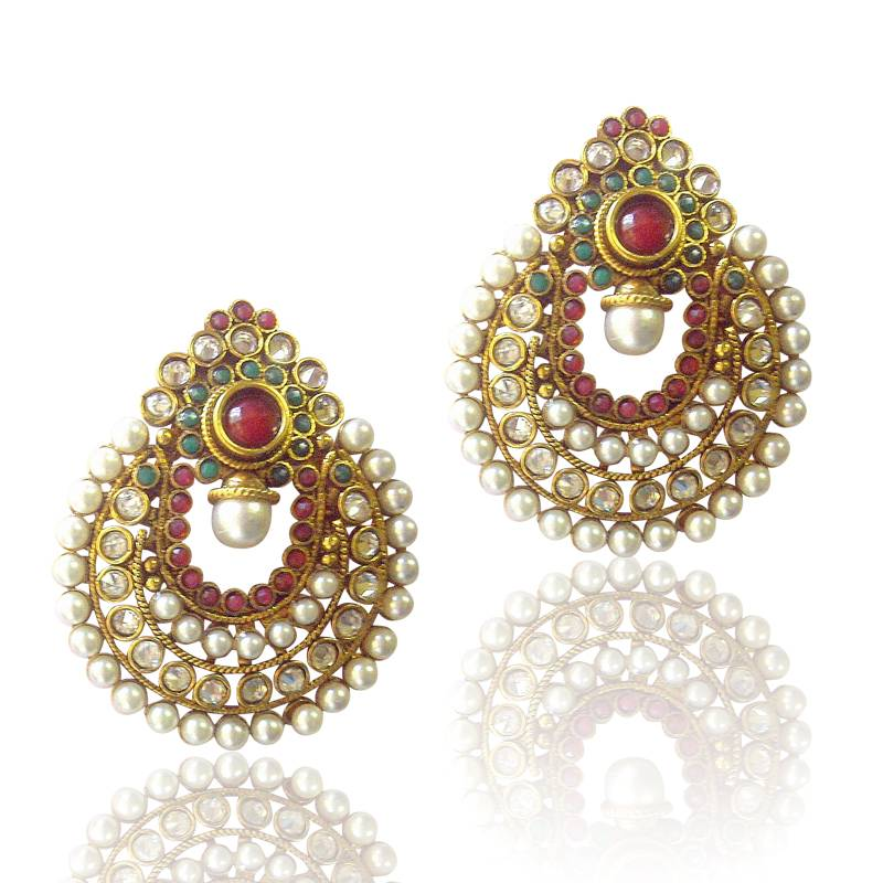 Buy Amazing Red Green Pearl Polki Earrings by ADIVA