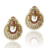 Buy Amazing Red Green Pearl Polki Earrings by ADIVA ...