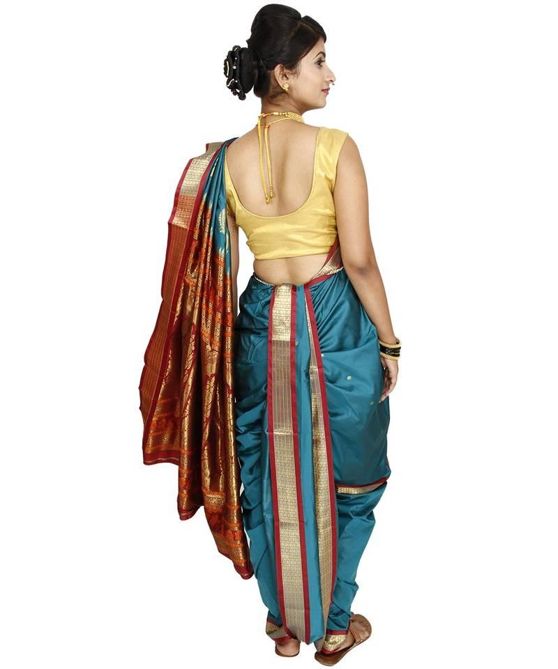 Buy Green Plain Cotton Silk Nauvari Saree Online