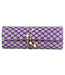 Buy FAVOLA DHOLAK STYLE SILK BROCADE GOLD AND PURPLE CLUTCH BAG clutch online