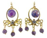 Buy Purple Chandelier Earrings with Agate and Amethyst Online