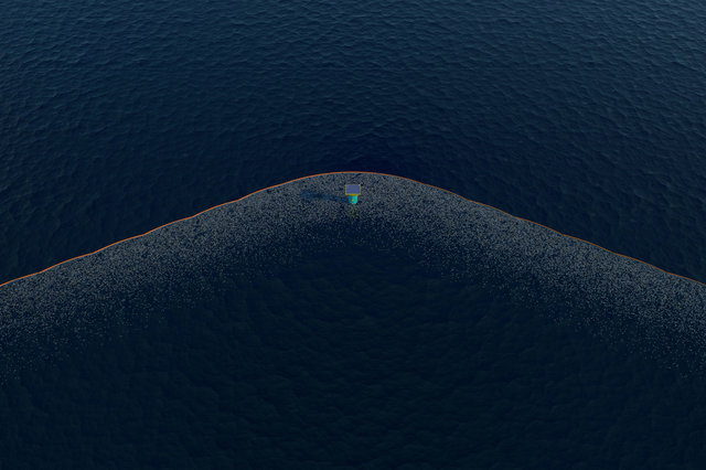 The ocean cleanup system rendering