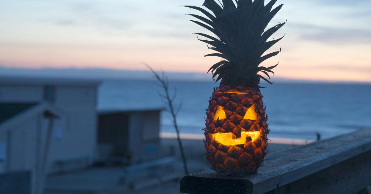 Florida Beach Fall Wallpaper Pineapple Jack O Lanterns New Halloween Pumpkin Carving