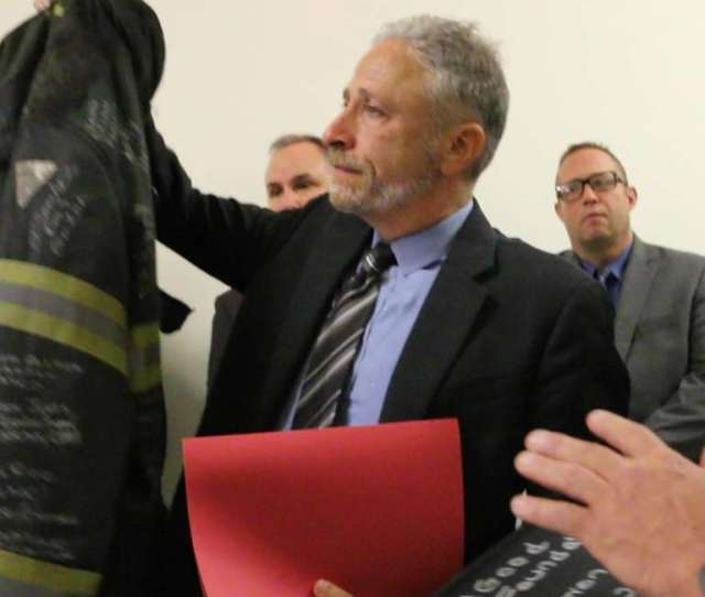 Jon Stewart Cries As 9 11 First Responders Gift Him Jacket From Late Friend