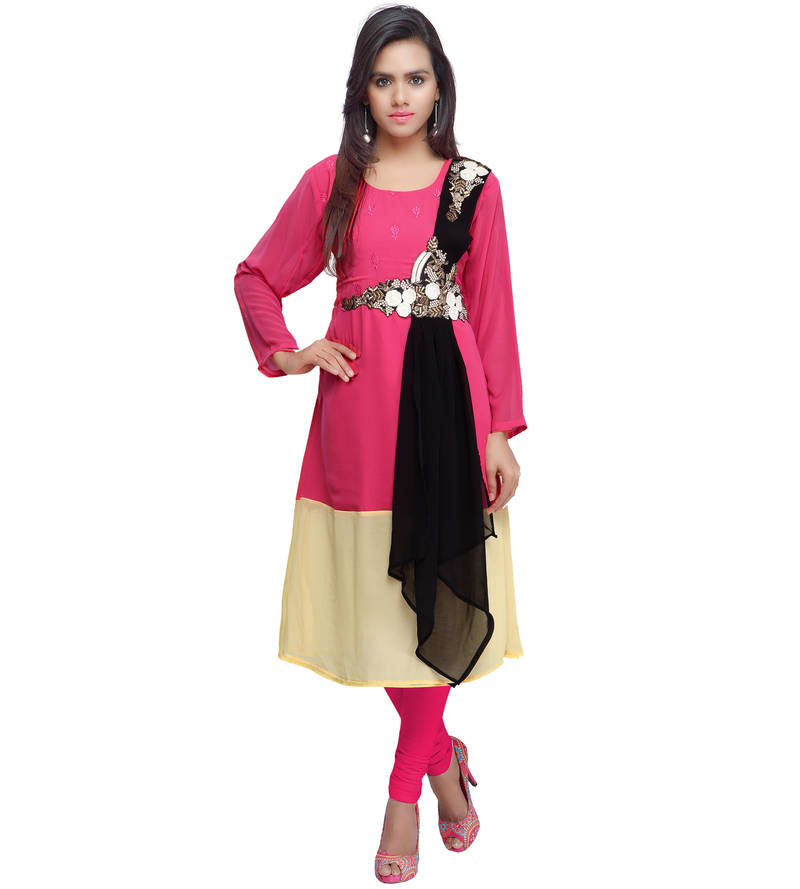 Attractive Pink Beige & Black Color Faux Georgette