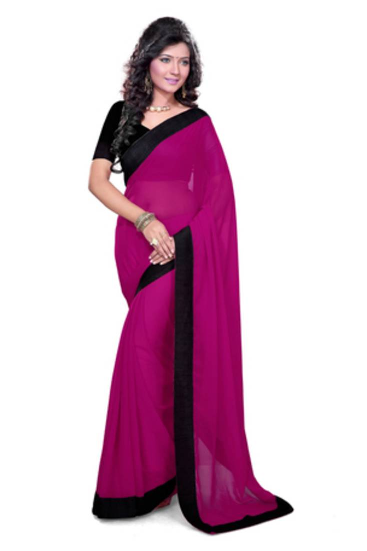 Buy Magenta Plain Georgette Saree With Blouse Online