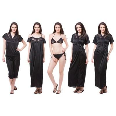 Fasense Women Black Nightwear Set of 6 Pcs