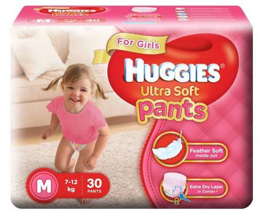 Huggies Diapers - Medium Size White For Girls Premium Ultra Soft Pants 30 pcs