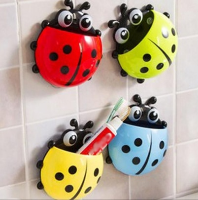 House of Quirk Cute Cartoon Ladybird Toothbrush Holder with Suction Cups ASSORTED COLOUR