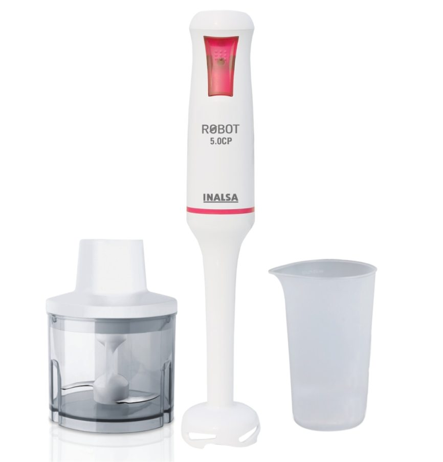 Inalsa Robot 5.0 CP 500-Watt Hand Blender (White & Red)