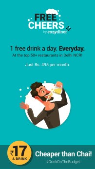 Drinks just for Rs 495 worth Rs 7500 at Free Cheers by EazyDiner