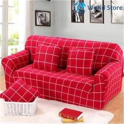 Sofa Covers Low Price Apartment Sleeper Sofas Buy Magideal 3 Seat Cover Spandex Elastic Couch Case Slipcover Red Plaid Decor