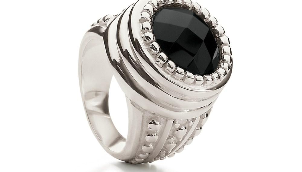 FOLLI FOLLIE - Επάργυρο δαχτυλίδι Folli Follie VINTAGE με μαύρη πέτρα