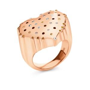 FOLLI FOLLIE - Ατσάλινο δαχτυλίδι καρδιά Folli Follie με κρυστάλλινες πέτρες