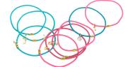JUICY COUTURE - Σετ από 10 λαστιχάκια μαλλιών CHARMY ELASTICS ροζ-πράσινα