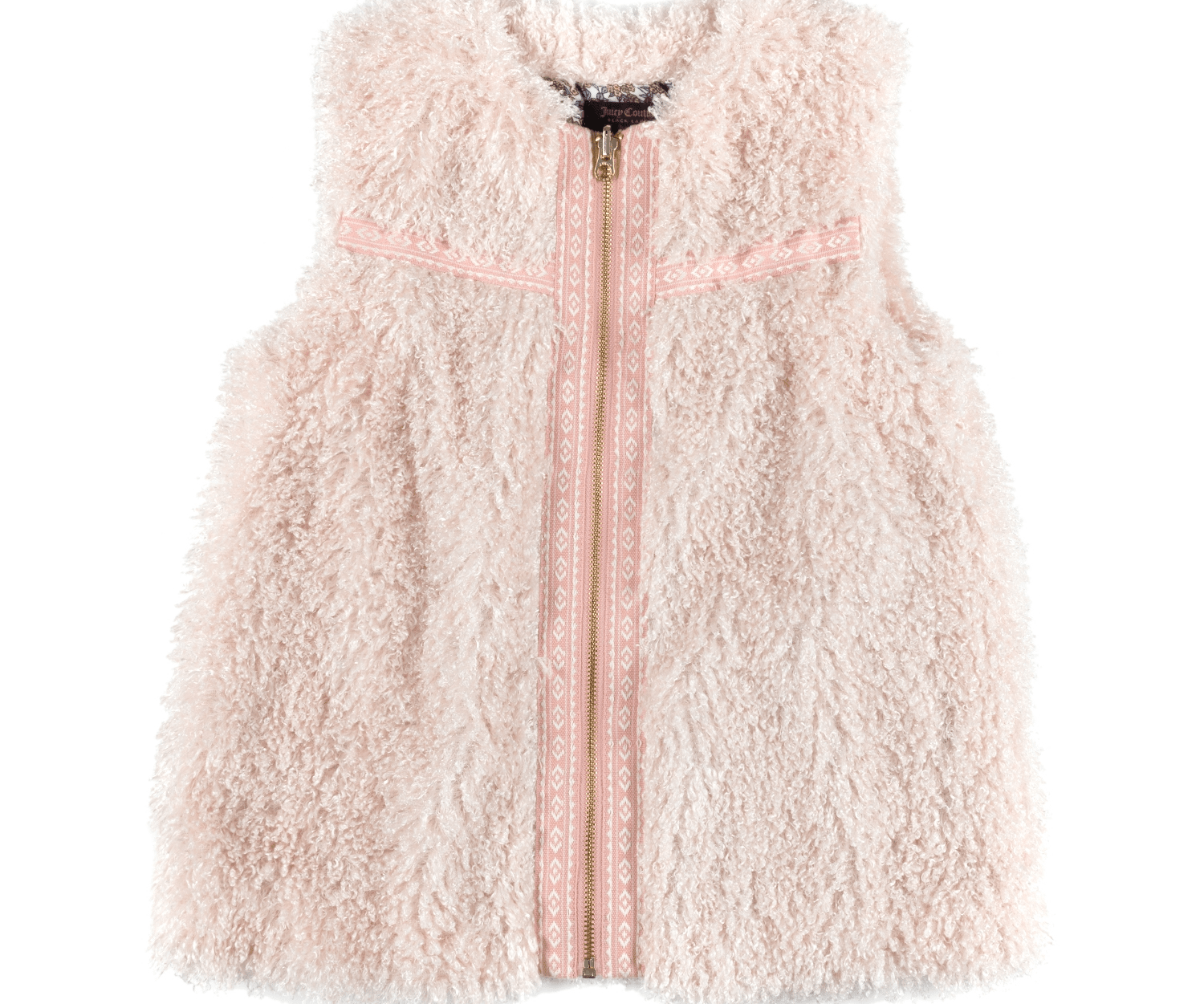 JUICY COUTURE KIDS - Κοριτσίστικο γιλέκο JUICY COUTURE KIDS CURLY FUR VEST ροζ