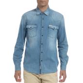 FRANKLIN & MARSHALL - Αντρικό πουκάμισο FRANKLIN & MARSHALL τζιν image
