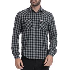FRANKLIN & MARSHALL - Αντρικό πουκάμισο FRANKLIN & MARSHALL γκρι-μαύρο
