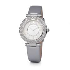 FOLLI FOLLIE - Γυναικείο δερμάτινο ρολόι FOLLI FOLLIE BEAUTIME ασημί