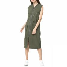 G-STAR RAW - Γυναικείο αμάνικο midi φόρεμα Powel G-STAR RAW πράσινο σκούρο
