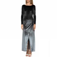 LA DOLLS - Γυναικείο μάξι βελουτέ φόρεμα LA DOLLS γκρι-μαύρο