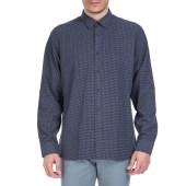 TED BAKER - Ανδρικό μακρυμάνικο πουκάμισο Ted Baker σκούρο μπλε με print image