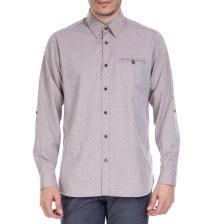 TED BAKER - Ανδρικό μακρυμάνικο πουκάμισο Ted Baker μοβ με print
