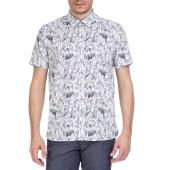 TED BAKER - Ανδρικό κοντομάνικο πουκάμισο Ted Baker λευκό - μαύρο image