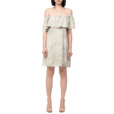 56aed5ac015c LA DOLLS - Γυναικείο μίνι off the shoulder φόρεμα LA DOLLS εκρού