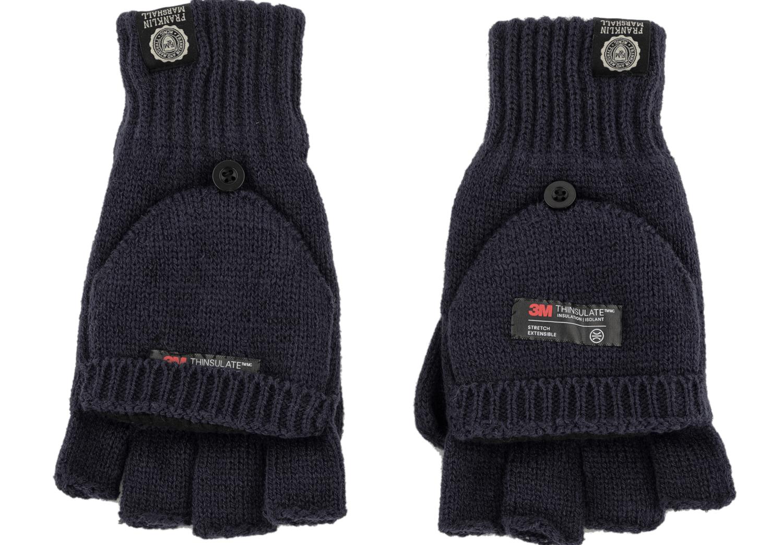 FRANKLIN & MARSHALL - Unisex πλεκτά γάντια FRANKLIN & MARSHALL μπλε